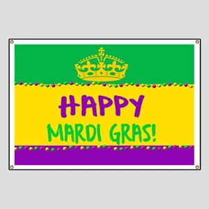 Happy Mardi Gras Crown and Beads Banner