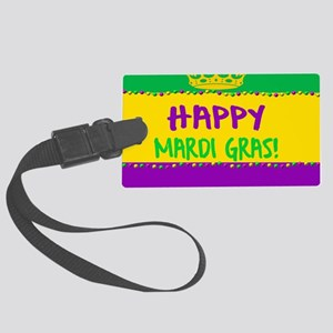 Happy Mardi Gras Crown and Beads Large Luggage Tag