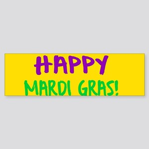 Happy Mardi Gras Crown and Beads Bumper Sticker