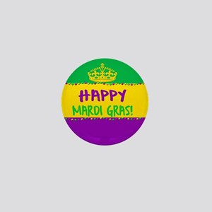 Happy Mardi Gras Crown and Beads Mini Button