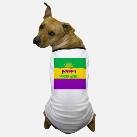 Happy Mardi Gras Crown and Beads Dog T-Shirt
