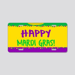 Happy Mardi Gras Crown and Aluminum License Plate
