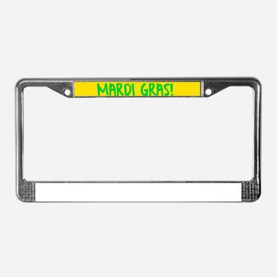 Happy Mardi Gras Crown and Bea License Plate Frame