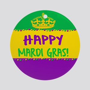 Happy Mardi Gras Crown and Beads Round Ornament