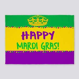 Happy Mardi Gras Crown and Beads 5'x7'Area Rug