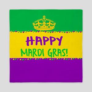 Happy Mardi Gras Crown and Beads Queen Duvet