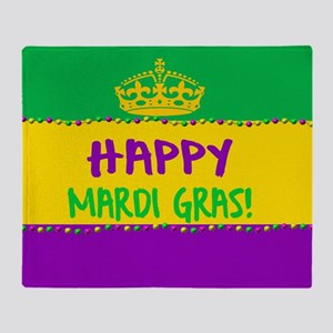 Happy Mardi Gras Crown and Beads Throw Blanket