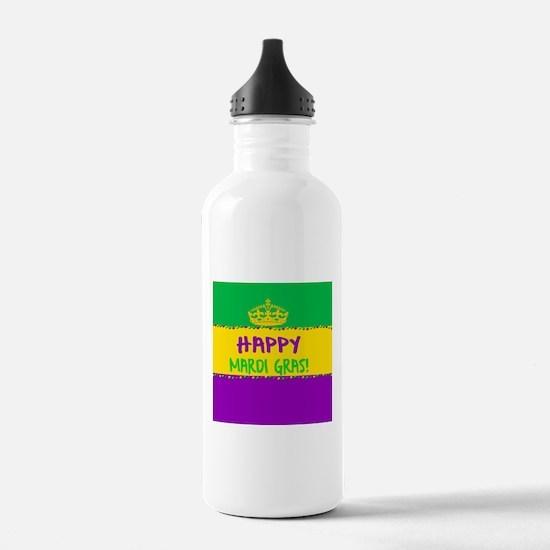 Happy Mardi Gras Crown Water Bottle