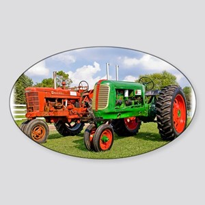 Vintage tractors red and green Sticker
