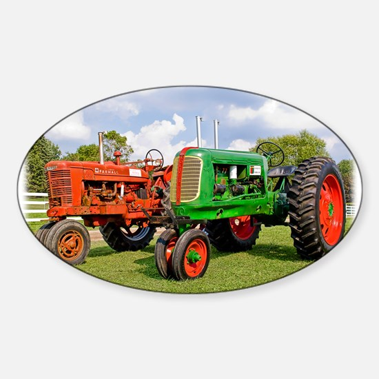 Vintage tractors red and green Decal