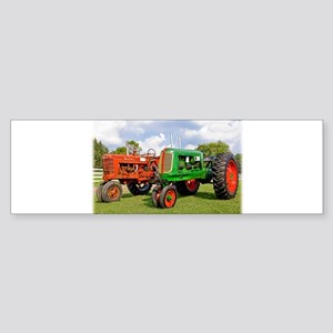 Vintage tractors red and green Bumper Sticker