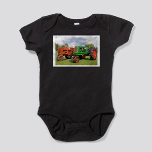 Vintage tractors red and green Baby Bodysuit