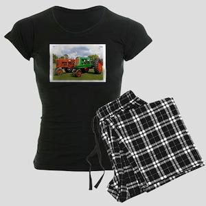 Vintage tractors red and gre Women's Dark Pajamas