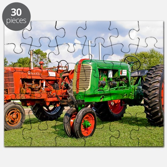Vintage tractors red and green Puzzle