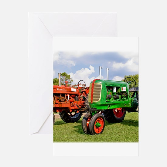Vintage tractors red and green Greeting Cards