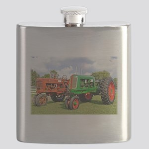 Vintage tractors red and green Flask