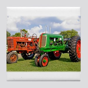 Vintage tractors red and green Tile Coaster