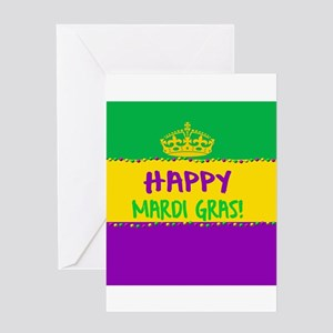 Happy Mardi Gras Crown and Beads Greeting Cards