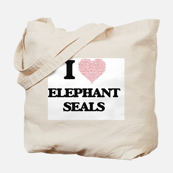 I love Elephant Seals (Heart Made from Wo Tote Bag