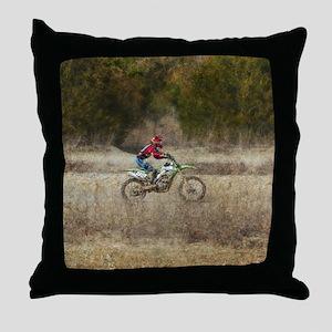 Dirt Bike Riding Throw Pillow