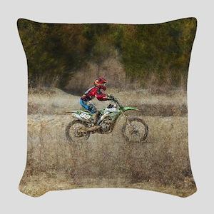 Dirt Bike Riding Woven Throw Pillow