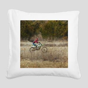 Dirt Bike Riding Square Canvas Pillow