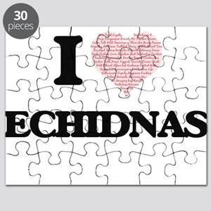 I love Echidnas (Heart Made from Words) Puzzle
