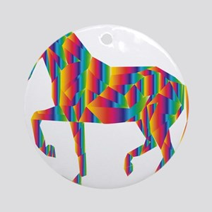rainbow horse psy Round Ornament