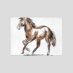 Horse sketch 5'x7'Area Rug