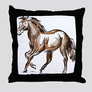 Horse sketch Throw Pillow