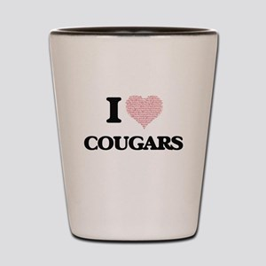 I love Cougars (Heart Made from Words) Shot Glass