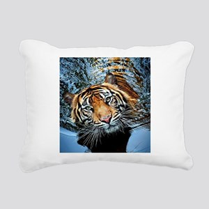 Tiger in Water Rectangular Canvas Pillow