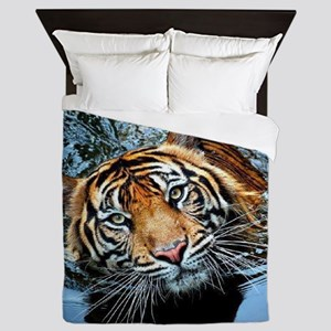 Tiger in Water Queen Duvet