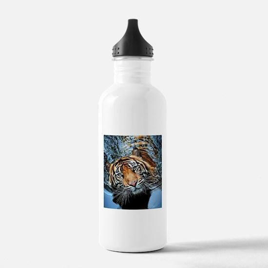Tiger in Water Water Bottle