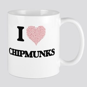 I love Chipmunks (Heart Made from Words) Mugs
