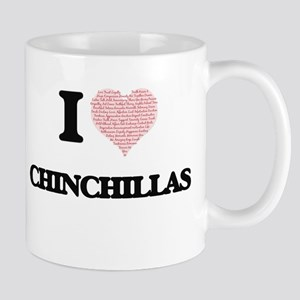 I love Chinchillas (Heart Made from Words) Mugs