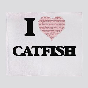 I love Catfish (Heart Made from Word Throw Blanket