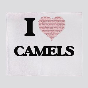 I love Camels (Heart Made from Words Throw Blanket