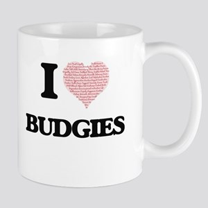 I love Budgies (Heart Made from Words) Mugs