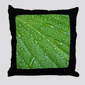 GREEN LEAF DROPS Throw Pillow