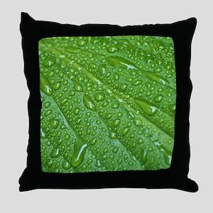 GREEN LEAF DROPS Throw Pillow