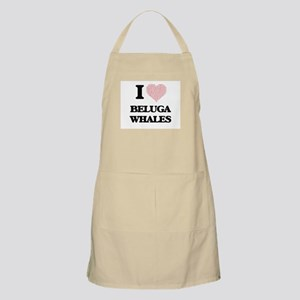 I love Beluga Whales (Heart Made from Words) Apron