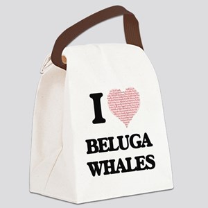 I love Beluga Whales (Heart Made Canvas Lunch Bag