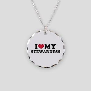 I love my stewardess Necklace Circle Charm