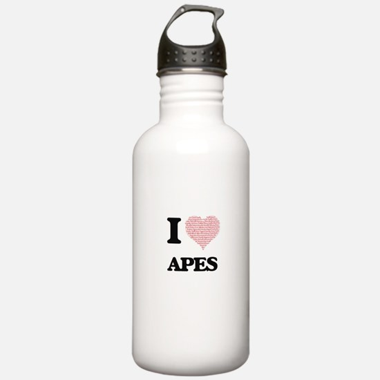 I love Apes (Heart Mad Water Bottle