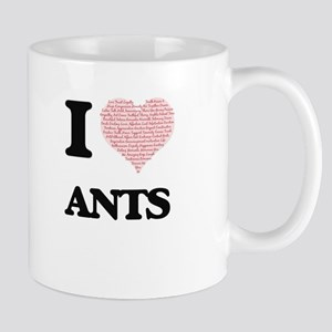 I love Ants (Heart Made from Words) Mugs