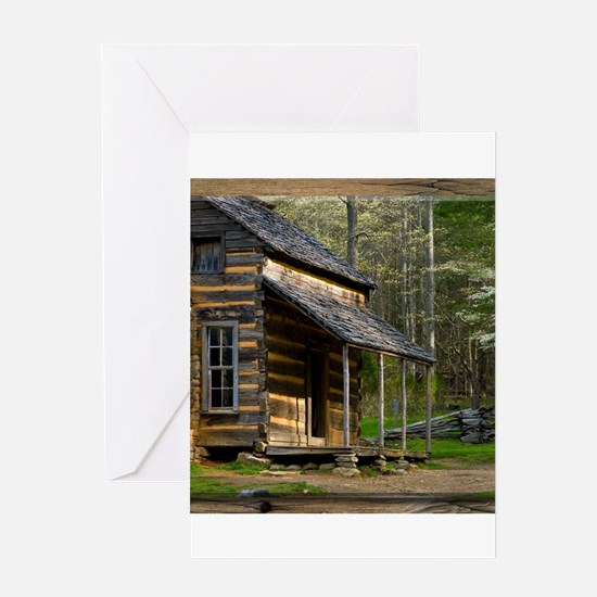Cabin on Wood Greeting Cards