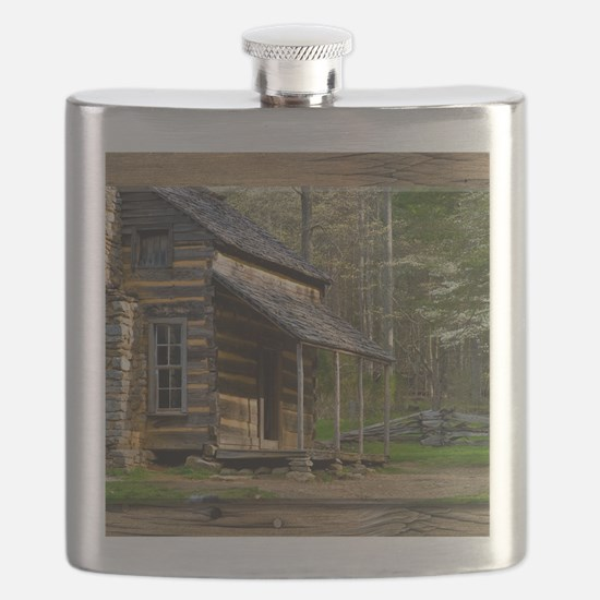 Cabin on Wood Flask
