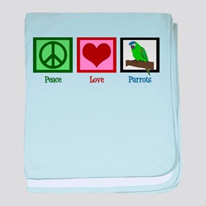 Peace Love Parrots baby blanket