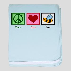 Peace Love Bees baby blanket